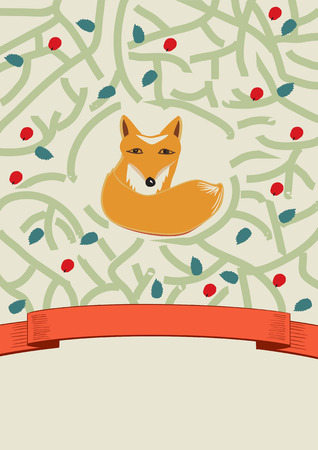 Cute little brown fox in a forest depicted by intertwining branches with leaves in a pretty card design with a swirling ribbon banner with copyspace for your greeting or text, illustration