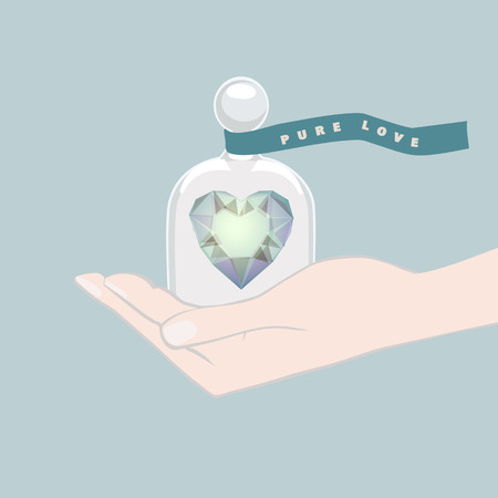 Illustration in shades of blue of a hand giving a gift of a heart under a domed glass cover symbolising love and romance tied with a ribbon banner with the text - Pure Love