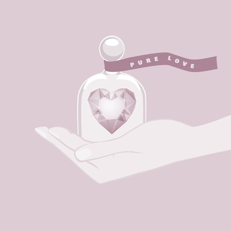 dainty: Hand giving the gift of a heart shape under a glass dome cupped in the palm of the hand as a symbol of pure love tied with a ribbon banner with the text - Pure Love - in dainty pastel shades Illustration