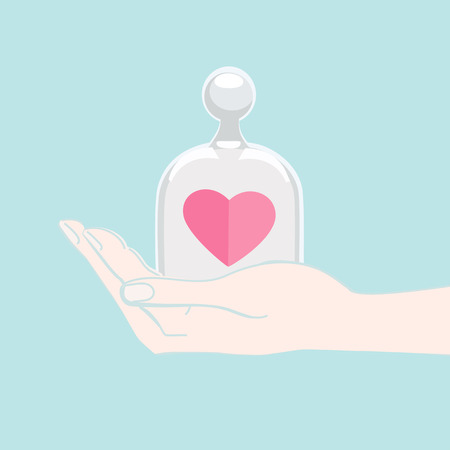 heart under: Hand offering a pink heart under a domed glass cover as a gift to a loved one for Valentines Day, wedding, anniversary or engagement symbolising love and commitment, illustration on blue