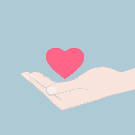 illustration of a hand cupping a red heart offering it as a token of love and affection to a sweetheart or loved one, card design with copyspace
