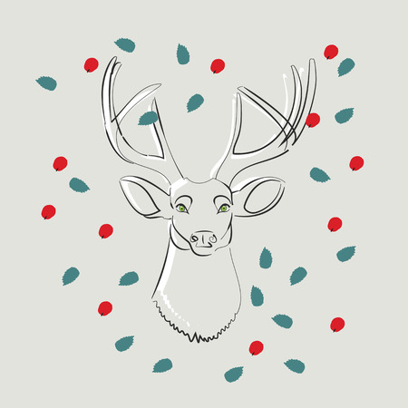 hunted: doodle sketch of the head of a deer with antlers and green eyes surrounded by scattered leaves and red berries Illustration