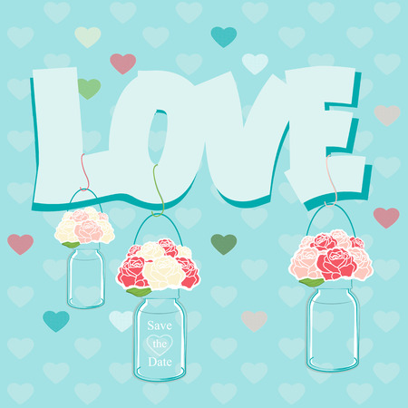 Declaration of Love card design with glass jars of pink roses on a turquoise background with scattered hearts and the text - Love - for a Valentines, anniversary or wedding greeting card or invitation Vector