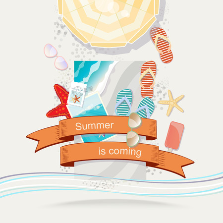 mementos: Summer Is Coming poster or card design with the text in a colorful orange ribbon over a tropical beach scene with an umbrella, sandals, seashells, starfish iced lollies, sunglasses and holiday photos