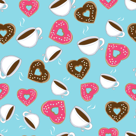 Seamless pattern of steaming hot cups of hot chocolate and heart-shaped chocolate and pink donuts symbolic of love scattered on a blue background, illustration in square format