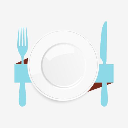 vista desde arriba: Vista desde arriba de un plato blanco vac�o con un cuchillo y el tenedor azul conceptual de un valor del lugar y el catering o servir alimentos, ilustraci�n sobre un fondo blanco