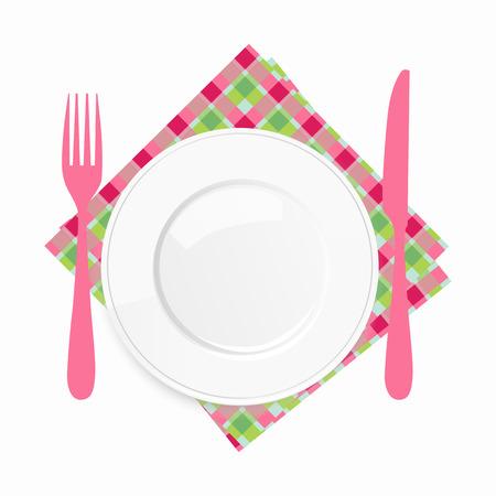 vista desde arriba: Vista desde arriba de un plato blanco vac�o con un cuchillo y un tenedor rosa conceptual de un valor del lugar y el catering o servir alimentos, ilustraci�n sobre un fondo blanco