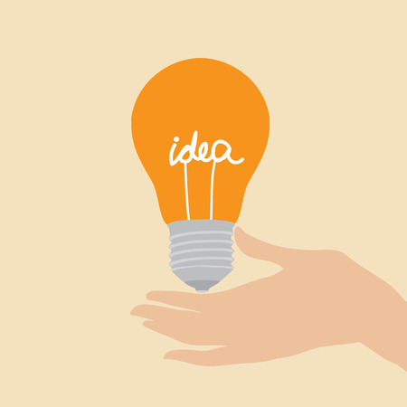 A hand that gives an orange light bulb with text - idea - to someone Illustration