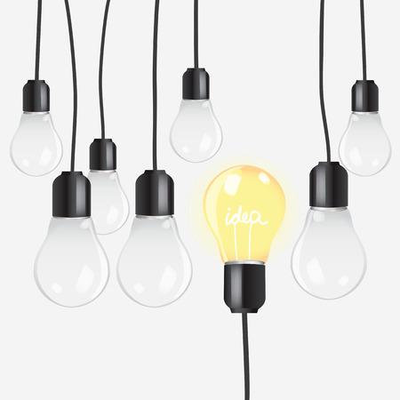 originality: Hanging bulbs on white background