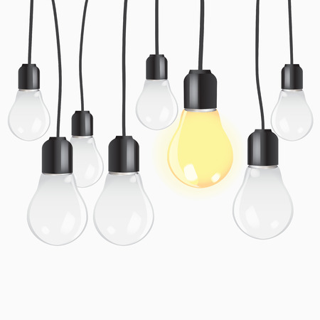 larger: Group of light bulbs hanging against blue background   Illustration