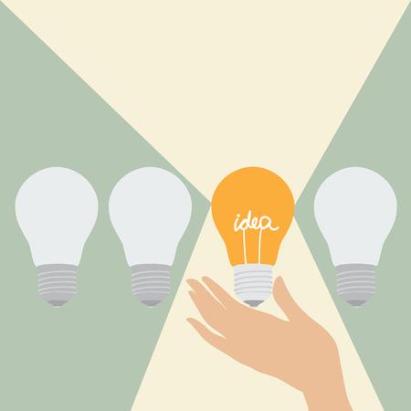Three ordinary light bulbs and one light with an idea that radiates light