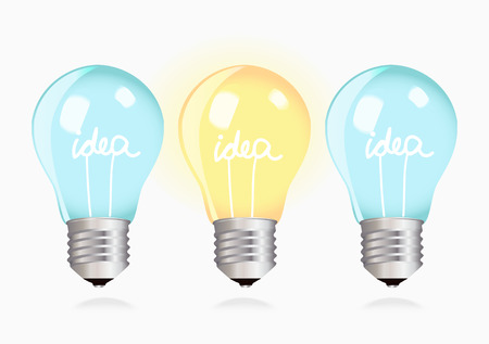 alight: Three switched off light bulbs upside down and one light bulb alight and all of them with text - idea Illustration