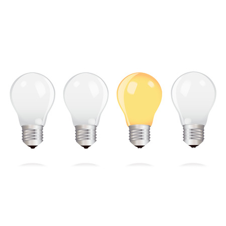 alight: Three switched off light bulbs upside down and one light bulb alight Illustration