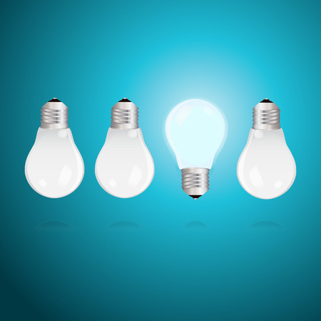 Three switched off light bulbs upside down and one light bulb alight Illustration
