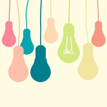Hanging bulbs on yellow background