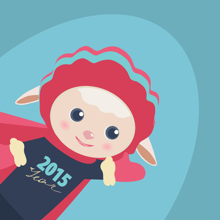 New Year illustration of a cute Super Hero sheep flying through the air in a red cape waving at the viewer with the date 2015 year on its chest