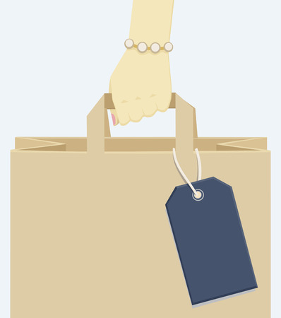Female hand with trendy bean bracelet carrying a grey shopping paper bag with blank label, on grey Illustration