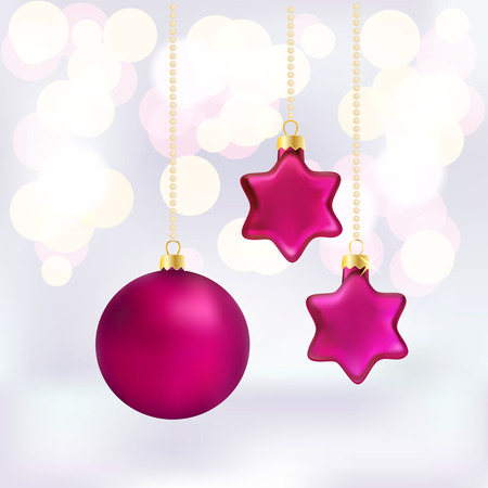 Christmas baubles on abstract background resembling a twinkling bokeh of party lights with a hanging glowing 3d bauble and two stars in an iridescent magenta with copyspace