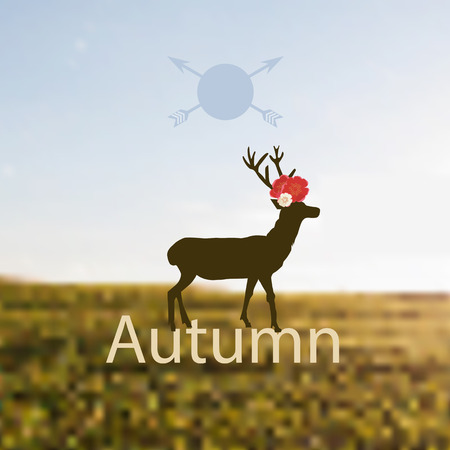 Vector illustration depicting Autumn with a stag, buck, deer or reindeer with antlers standing in profile in a field with colorful red flowers on its head and the word - Autumn - below Illustration
