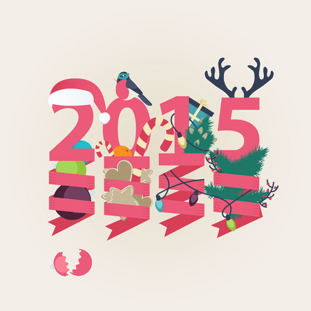 twirled: 2015 New Year card vector design with the date in pink with suspended party streamers twirled around Christmas ornaments, tree, lights and candy with a Santa hat and antlers on top in square format