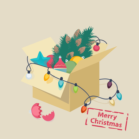 Christmas card design with a box of toys and colorful decorations, lights and a Christmas tree with a broken eggshell in front and the text - Merry Christmas