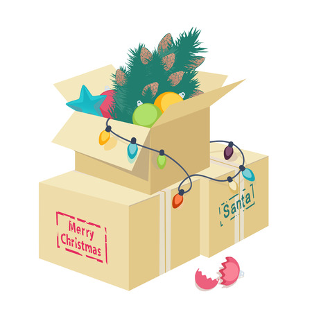 string of christmas lights: Cardboard box overflowing with Christmas decorations with an eggshell, Christmas tree, ornaments and string of lights with the text - Merry Christmas
