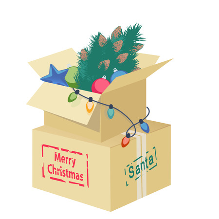 string of christmas lights: Cardboard box overflowing with Christmas decorations with an eggshell, Christmas tree, ornaments and string of lights with the text - Merry Christmas - for a colorful greeting card vector design