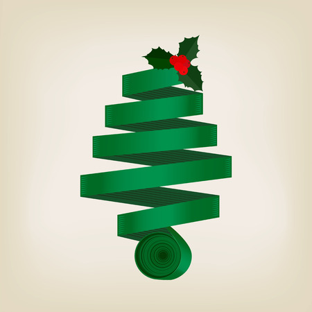 Festive green Christmas tree of coiled ribbon in a spiral cone topped with a sprig of leafy green holly with red berries on a grey background, vector design element or greeting card