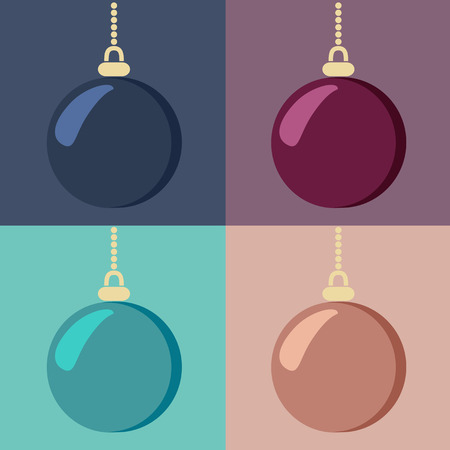 variants: Set of shiny hanging Christmas baubles in four different color variants, vector illustration