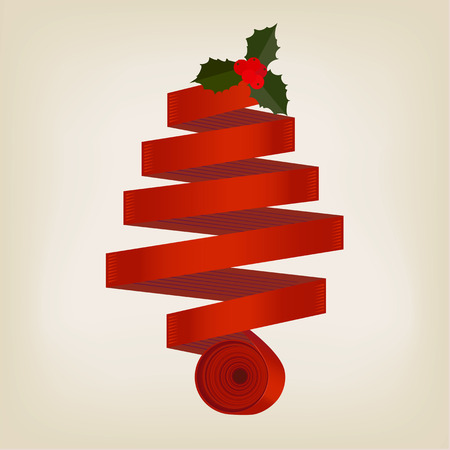 coiled: Red ribbon Christmas tree formed of a coiled spiral of ribbon topped with a sprig of green holly with red berries on a grey background, vector, illustration