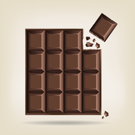 Unwrapped bar of chocolate with one corner square broken off with crumbs, vector illustration