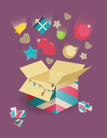 Colorful assorted Christmas decorations with motion blur falling into an open cardboard box with a Christmas tree behind and wrapped gift on a festive purple background, vector illustration Illustration