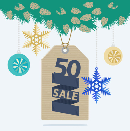 markdown: Christmas sale tag or label with a 50 percent reduction banner hanging from a pine branch with baubles and snowflake decorations, vector advertising design for a store