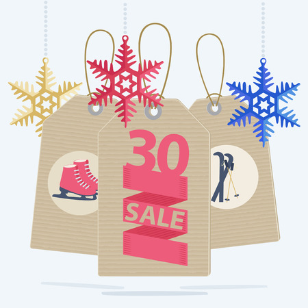 ice skates: Sale labels for a Christmas sale of sports gear and equipment showing a 30 percent reduction on ice skates and skis decorated with colorful snowflake decorations, vector illustration Illustration