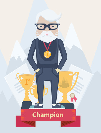 snowcapped mountain: Vector cartoon old man champion in sport wearing a first place gold medal standing on a winners podium with certificates and golden award trophies against a backdrop of snow-capped mountain peaks Illustration