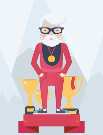 snowcapped mountain: Old man on a winners podium in sport standing wearing a champions gold medal with golden trophies with winter mountains behind, vector cartoon figure
