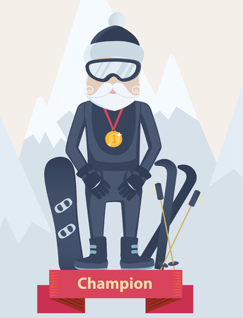gold capped: Senior man winter sports champion standing wearing goggles and a gold medal on a winners podium with his skis and snowboard against snow-capped mountains, vector cartoon