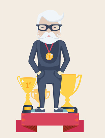 oldage: Vector cartoon figure of an old man champion in sport standing on a winners podium wearing a gold medal with golden trophies in a concept of an active old-age and achievement