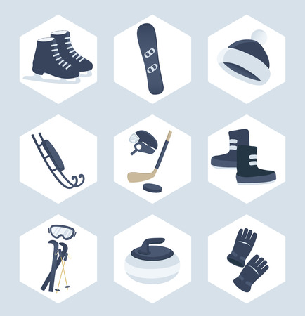toboggan: Set of winter sport vector icons in a cool blue in hexagonal frames showing ice skates, snowboard, toboggan, ice hockey, curling, skiing, snow boots and mitts Illustration