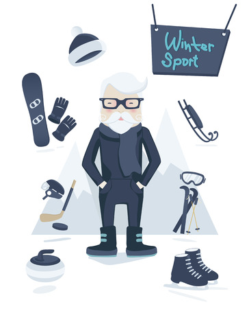 old man standing: Athletic grey-haired old man standing surrounded by winter sport equipment and gear for skiing, ice hockey, ice skating, curling and snowboarding in a concept of an active healthy retirement, vector