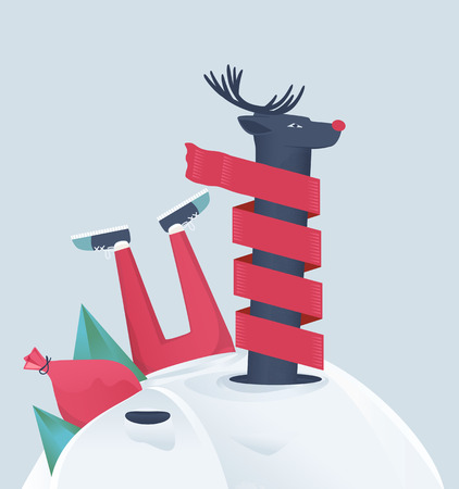 snowdrift: Funny cartoon vector reindeer with a bright red nose wrapped in a winter scarf buried in a snowdrift with a bag of Christmas gifts and holly alongside and Santas legs sticking up out of the snow