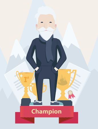snowcapped mountain: Vector cartoon figure of an old man champion in sport standing on a winners podium with golden trophies in a concept of an active old-age and achievement