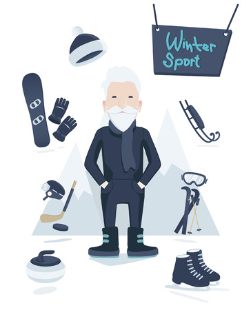 old man standing: Athletic grey-haired old man standing surrounded by winter sport equipment and gear for skiing, ice hockey, ice skating, curling and snowboarding in a concept of an active healthy retirement, vectorAthletic old man and winter sport Illustration