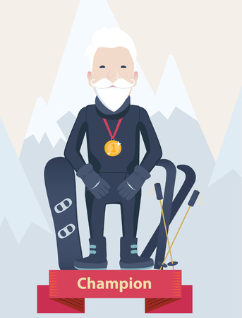 gold capped: Senior man winter sports champion standing wearing a gold medal on a winners podium with his skis and snowboard against snow-capped mountains, vector cartoon Illustration