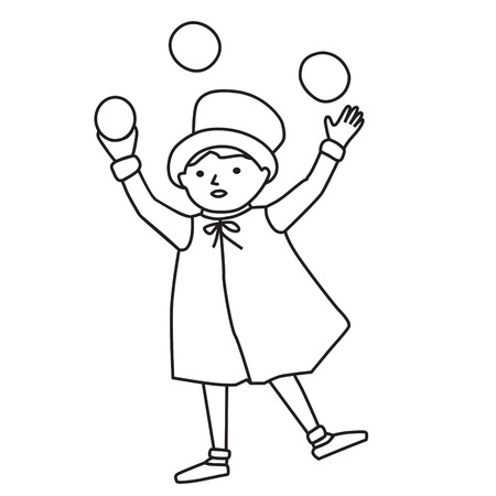 Cartooned Graphic Design of Juggler Young Boy Template on White Background Illustration