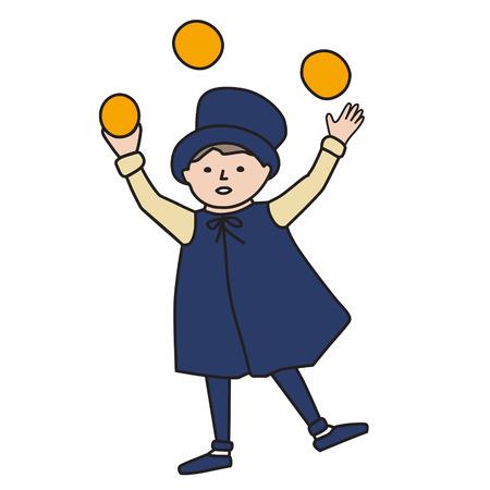 juggler: Cartooned Graphic Design of Juggler Young Boy on White Background