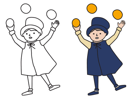 juggler: Cartooned Graphic Design of Juggler Young Boy with Template on White Background Illustration