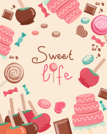 dipped: Graphic Design of Simple Sweet Life Text Surrounded by Sweets on Light Brown Background. Illustration