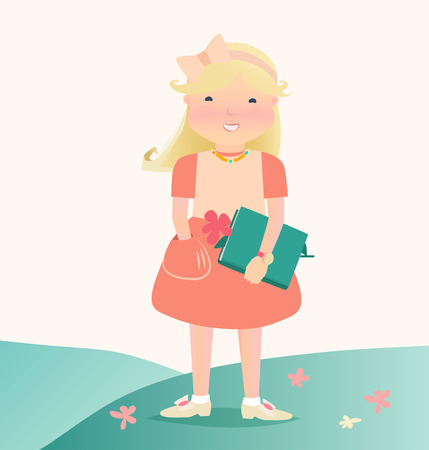cartooned: Cartooned Graphic Design of Happy Young Girl Holding a Green Book Standing on the Grassland with Flowers. Illustration