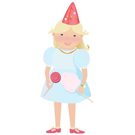 cartooned: Cartooned Graphic Design of Happy Young Girl with Party Hat on her Head Holding Sweet Candies on a White Background.